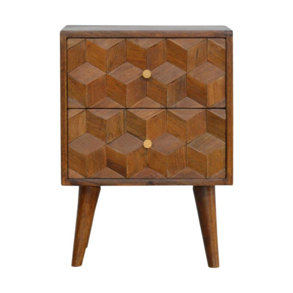 Chestnut Cube Carved Bedside